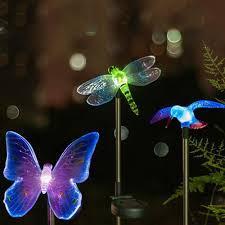 hardoll solar lights for garden set of humming bird dragon fly erfly