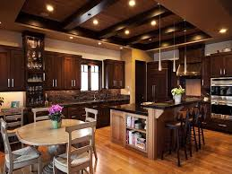 kitchen ideas wood cabinets. Transitional Kitchen With Dark Wood Cabinets, Mosaic Tile Back Splash, And Solid Surface Counter Ideas Cabinets