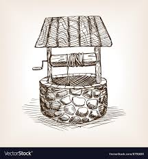Water Well Design Drawing Rustic Well Sketch Style Vector Image