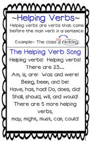 Helping Verbs Song Poster Anchor Chart