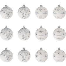 12 Stück Weihnachtskugeln ø6cm 2 Sorten Weiß Glaskugeln Weihnachtsbaumkugeln Christbaumkugeln Christbaumschmuck Baumschmuck