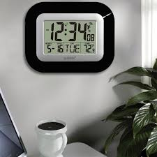 h digital atomic black wall clock with indoor temperature