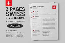 2 Pages Swiss Resume Extended Pack Resume Templates Creative