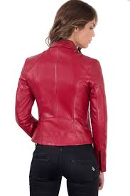 italian leather jacket for women biker model red 3