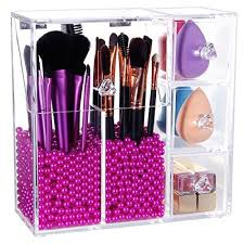langforth brush holder lipstick puff drawer dustproof box premium quality thick makeup acrylic organizer cosmetic storage display all in one case lid with