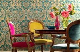 colorful damask dining room