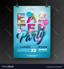 Easter Party Flyer Design With Painted Eggs
