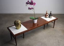 american of martinsville mid century modern coffee table with tile inlay