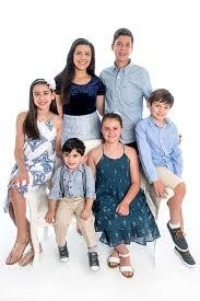 colour portrait of 6 grand children on white background