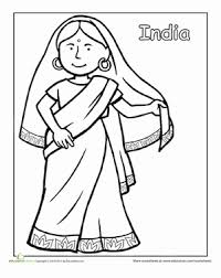 Indian Traditional Clothing Coloring Page Asian Art World Crafts