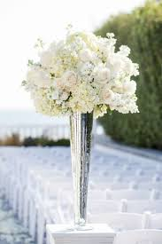 Tall White Rose and Hydrangea Centerpiece in a silver lined vase for the  other half of  Hydrangea In VaseFlowers ...