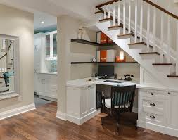 design office desk basement desk under the stairs elegant home office photo in toronto with built office desk