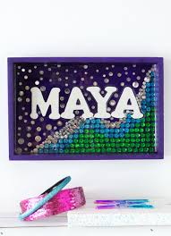 purple green blue and silver personalized mermaid wall decor