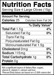 nutrition facts coc large olive nutrition fact updated 150819