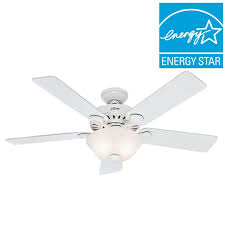 hunter pro s best five minute 52 in indoor white ceiling fan with light kit