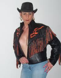 leather jacket with fringe 158