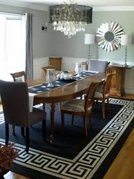 Modern Dining Room Rugs Black Round Stained Wooden Dining Table - Large dining room rugs