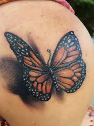 3d Butterfly Tattoo On Shoulder Painting Rocks Butterfly