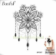 Mehndi черная хна цветок временная татуировка полумесяц мандала геометрическая