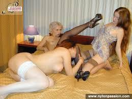 Nylon Passion Three Stockings Lesbians Cunnilingus Three Stockings.