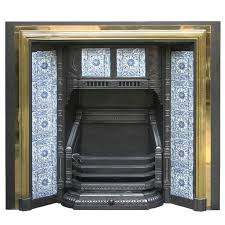 19th century victorian brass framed and tiled fireplace grate