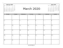 March 2020 Calendar Free Printable Allfreeprintable Com