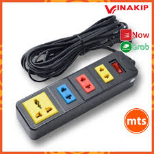 Ổ cắm điện 4 ngả liền dây N13 Vinakip dây dài 2.5 - 5m nhíp đồng có công  tắc đóng mở đèn báo tiện lợi - Minh Tín Shop