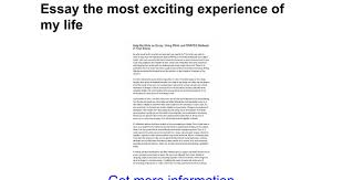 essay the most exciting experience of my life google docs