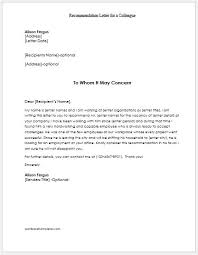 Recommendation Letter For Colleague Recommendation Letters For Employees Teachers Colleagues