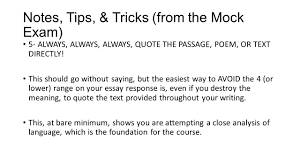 ap literature exam essay norming tips tricks ppt  notes tips tricks from the mock exam 5 always