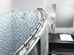 double shower curtain double shower curtain rod vs single smart rod double curved tension shower curtain