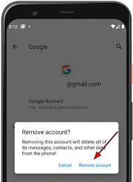 delete the google account in huawei y625