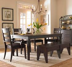 black dining room set with bench. Dining Room. Yellow Flower With Glass Vase On Top Black Wooden Table Added By Room Set Bench