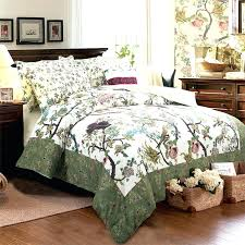 bird comforter set cotton quilt bedding king queen twin birds green