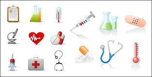 Clipart-Bilder von EPS-Format, einschließlich Jpg-Vorschau, Stichwort:  Vektor, Symbol, Medizin, Krankenhäuser, medizinische Versorgung, Berichte,  Container, Thermometer, Mikroskope, ECG, Pillen, Spritzen, Hausapotheke,  Stethoskop, Woun