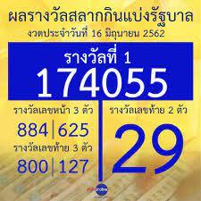 ผลรางวัลสลากกินแบ่งรัฐบาล งวดประจำวันที่ 16 มิถุนายน 2562 - สำนักข่าวไทย  อสมท