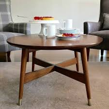 details about mid century modern coffee table round cocktail retro style walnut finish urban