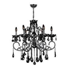 kronos 6 light chrome with black crystal large chandelier