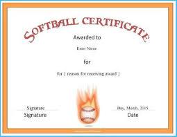 Mesmerizing Softball Certificate Templates To Make Blank