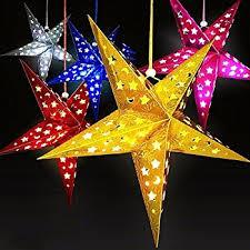 SOKATON Paper Star Lantern 3D Pentagram Lampshade for Christmas Xmas Party  Holloween Birthday Home Hanging Decorations