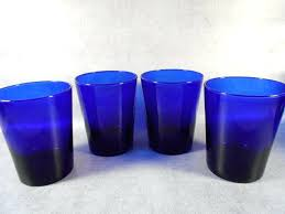 drinking glass cobalt blue water beverage 8 oz set of 4 libbey glassware