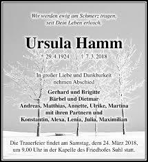 Traueranzeigen von Ursula Hamm   franken-gedenkt.de
