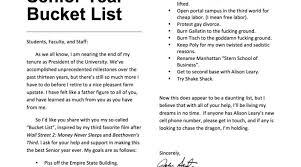 john sexton s senior year bucket list washington square local john sexton bucket list