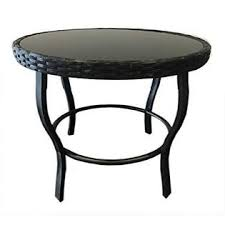 Coffee, blue, gray, red, green, white, brown, beige, gold, black, pink, yellow, purple, orange, multicolor, khaki, bronze. Solaura T1yj48c Solaura Furniture Outdoor Patio Table Steel Frame Black Wicker Coffee Table Round Side Table Tempered Glass Top