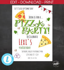 Birthday Invitation Flyer Template Awesome Pizza Party Invitation Pizza Birthday Party Pizza Party Edit
