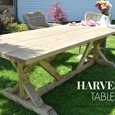 diy outdoor farmhouse table. DIY Outdoor Harvest Table - Beautiful! Diy Farmhouse A