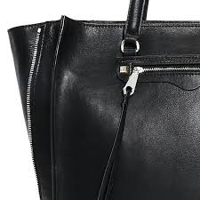 black leather tote bag with zipper closure large