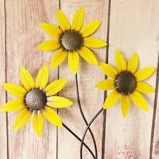 large bunch yellow sunflowers metal