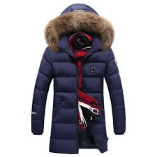 ca8866 men s autumn and winter casual long down jacket solid color thicken warm fur collar size xl dark blue