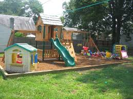 Small backyard landscaping ideas for kids with playground sets on a budget